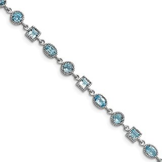 Sterling Silver Blue Topaz Bracelet 7 Inch Gemstone Fine Jewelry Gifts