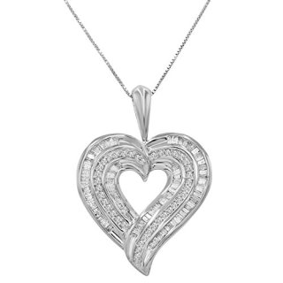 AGS Certified 1 1/2ct TW Round and Baguette Diamond Heart Pendant-Necklace