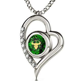 Nano Jewelry Sterling Silver Zodiac Heart Pendant Taurus Necklace