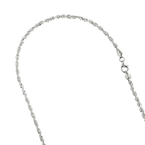 Solid 14K White Gold 2.5mm Wide Rope Chain Diamond Cut Necklace