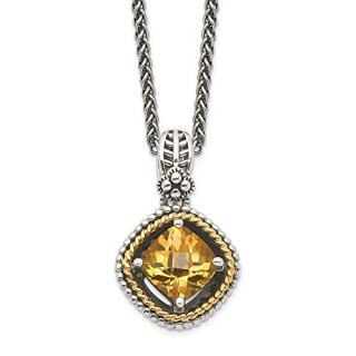 Sterling Silver 14k Yellow Citrine Chain Necklace Pendant Charm