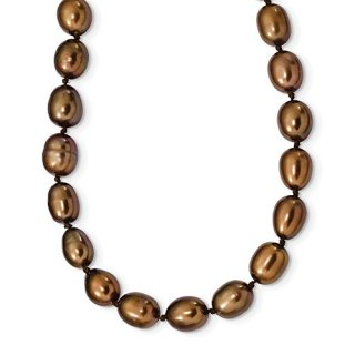 Sterling Silver 8mm Brown Freshwater Cultured Rice Pearl Chain Necklace