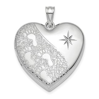 Sterling Silver 24mm Footprints Ash Holder Heart Photo Pendant Charm