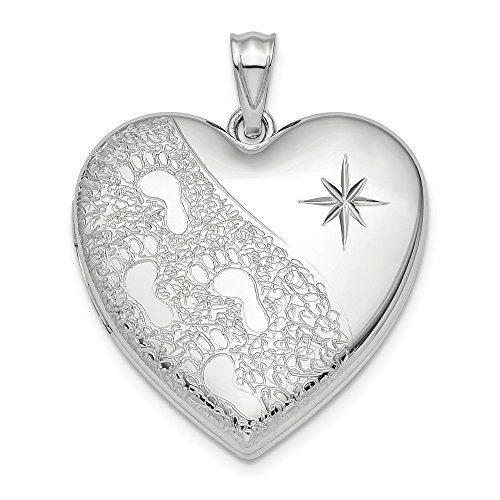 Sterling Silver 24mm Footprints Ash Holder Heart Photo Pendant Charm
