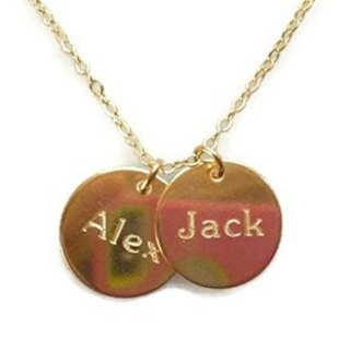 EFYTAL Two Name Necklace On Disc, Personalized Gold Filled Custom Name