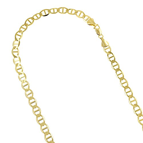 """14K Yellow Gold Solid Flat Mariner Chain 6.5mm Wide 22"""" Long Necklace"""