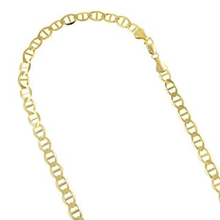 "14K Yellow Gold Solid Flat Mariner Chain 6.5mm Wide 22"" Long Necklace"