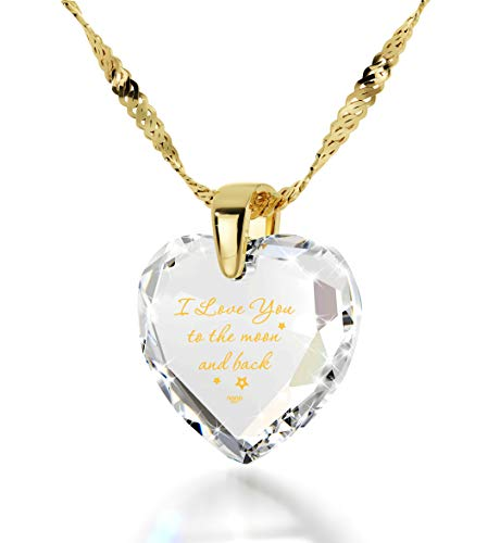 Nano Jewelry Gold Plated Heart Necklace I Love You to The Moon and Back