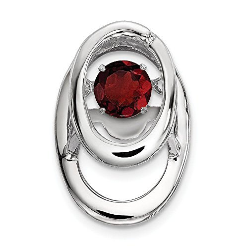 Sterling Silver Red Garnet Birthstone Vibrant Pendant Charm Necklace Set