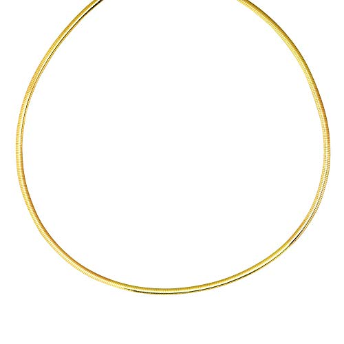 14k Yellow Gold and Sterling Silver 3mm Reversible Omega Chain Necklace