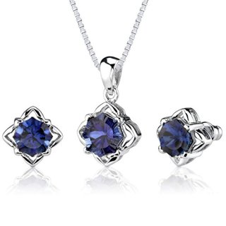 Created Sapphire Pendant Earrings Set Sterling Silver
