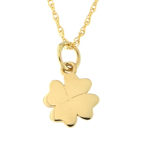 Beauniq 14k Yellow Gold Tiny Four Leaf Clover Pendant Necklace