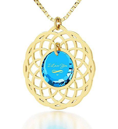Nano Jewelry Gold Plated Mandala I Love You Infinty Pendant Necklace