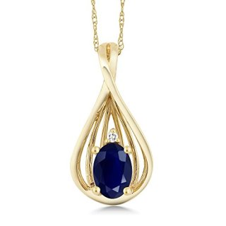Gem Stone King 10K Yellow Gold Blue Sapphire and Diamond Teardrop Pendant