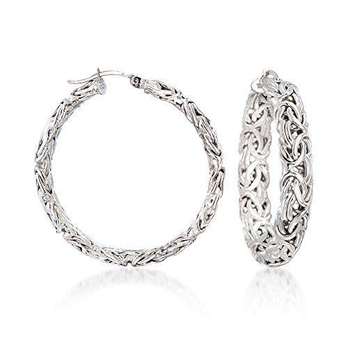 Ross-Simons Sterling Silver Large Byzantine Hoop Earrings