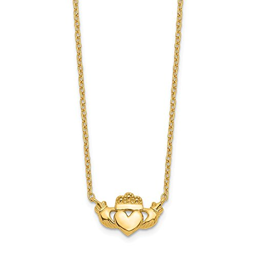 14K Yellow Gold Polished Claddagh Necklace