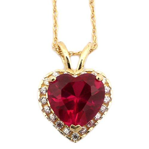 Beauniq 14k Yellow Gold Simulated Ruby and Cubic Zirconia