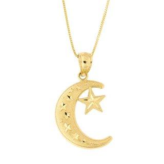 Beauniq 14k Yellow Gold Large Diamond Cut Crescent Moon and Star Pendant