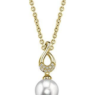 THE PEARL SOURCE 14K Gold 8-9mm Round White Freshwater Cultured Pearl