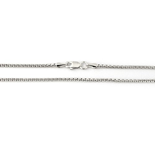 14k White Gold 1.7mm Round Box Chain Necklace