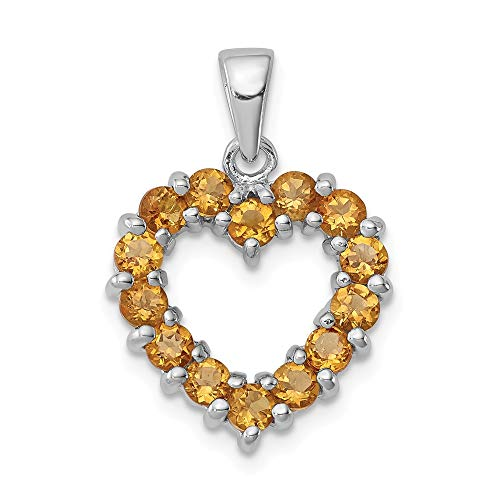 925 Sterling Silver Yellow Citrine Heart Pendant Charm Necklace