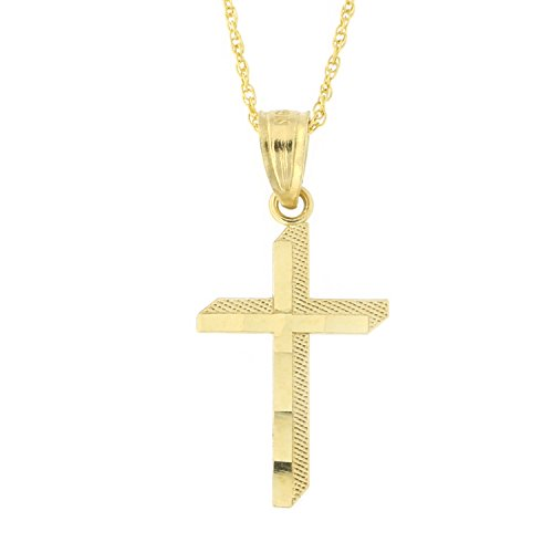 Beauniq 10k Yellow Gold 3D Look Cross Pendant Necklace