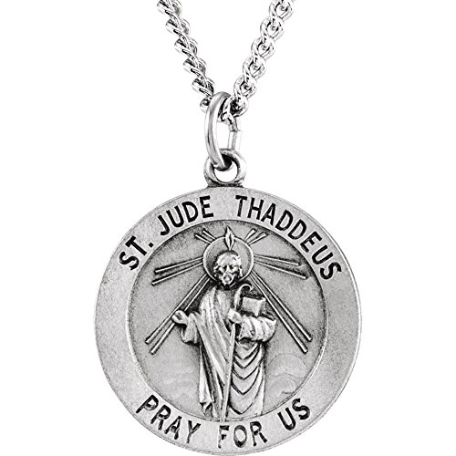 Jewels By Lux Sterling Silver 22mm Round St. Jude Thaddeus Medal