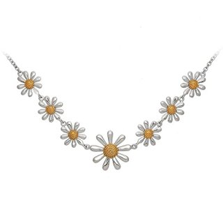Paul Wright Sterling Silver Daisy Chain Necklace, Seven Daisies