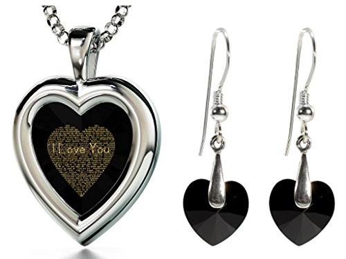 Silver Black Heart Jewelry Set I Love You Necklace 120 Languages