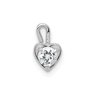 14k White Gold April Synthetic Birthstone Heart Pendant Charm Necklace
