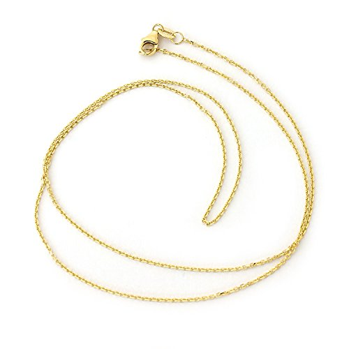 Beauniq Solid 14k Yellow Gold 1.1mm Cable Link Chain Necklace
