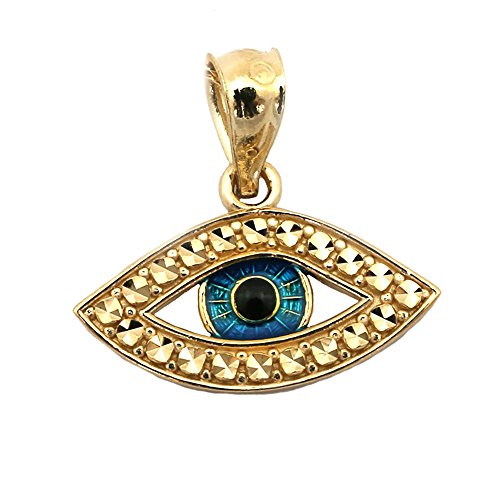 Beauniq 14k Yellow Gold Blue Enamel Diamond Cut Evil Eye Pendant