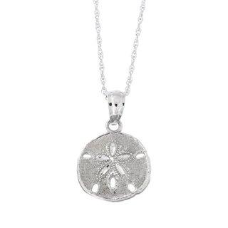 Beauniq 14k White Gold Small Sand Dollar Pendant Necklace