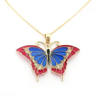 14k Yellow Gold Blue, Pink and Glitter Acrylic Large Butterfly Pendant Necklace