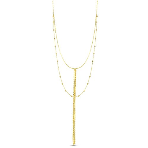 14k Yellow Gold Double Layer Diamond Cut Beads Tassel Lariat Necklace