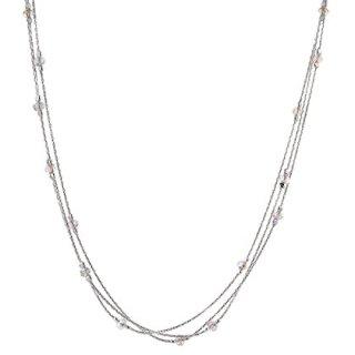 Triple Strand Sterling Silver Necklace Made with Original Swarovski Crystals