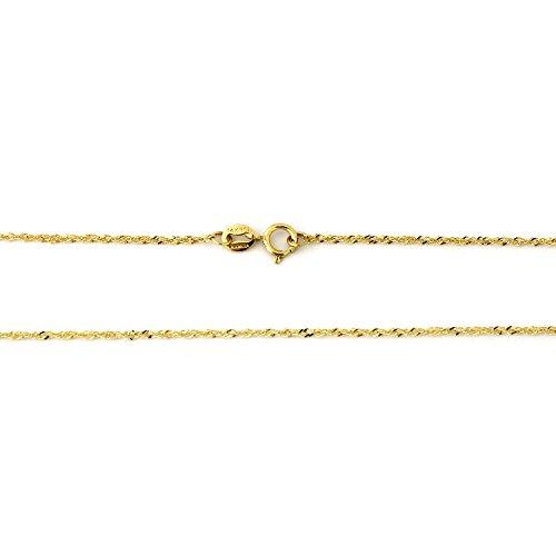 Beauniq 14k Yellow Gold 1.0mm Singapore Chain Necklace