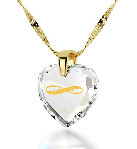 Nano Jewelry Gold Plated Heart Necklace I Love You Pendant Infinity Symbol
