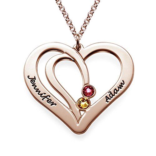 Couples Engraved Necklace Made with Swarovski Crystals