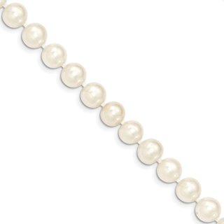 14k Yellow Gold 9mm White Near Round Freshwater Cultured Pearl Bracelet