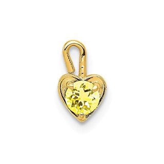 14k Yellow Gold November Synthetic Birthstone Heart Pendant