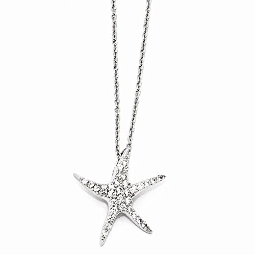 Sterling Silver Cubic Zirconia Cz Starfish 18 Inch Chain Necklace