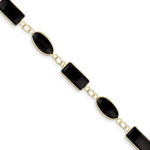 14k Yellow Gold 7 Inch Black Onyx Bracelet Gemstone Fine Jewelry Gifts