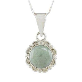 NOVICA Light Green Jade Sterling Silver Flower Pendant Necklace