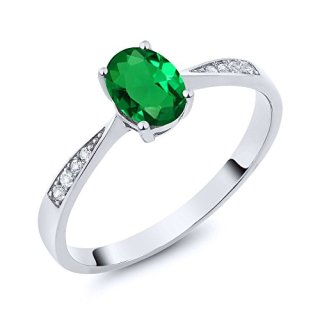 Gem Stone King 10k White Gold Green Simulated Emerald and Diamond