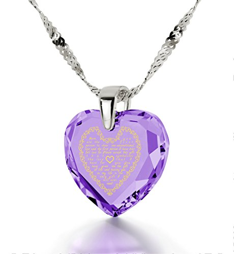 Silver Mom Necklace - Heart Pendant Inscribed in 24k Gold