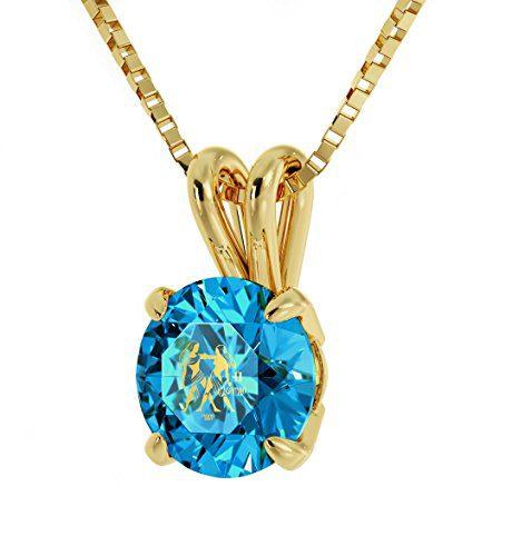 Nano Jewelry Gold Plated Zodiac Pendant Gemini Necklace