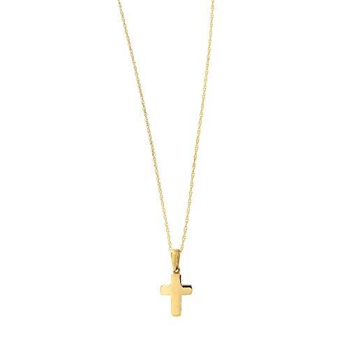 Beauniq 14k Yellow Gold Small Block Cross Pendant Necklace