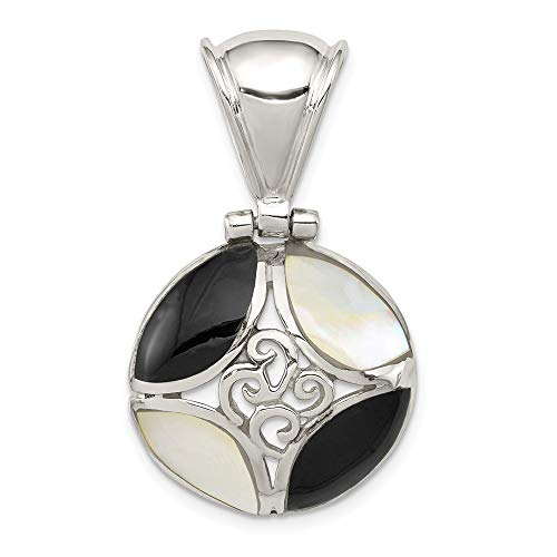 Sterling Silver Black Onyx Mother Of Pearl Pendant Charm Necklace