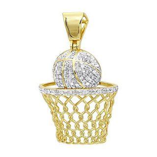 Mens Diamond Jewelry Solid 10k Gold Real Diamond Basketball Pendant